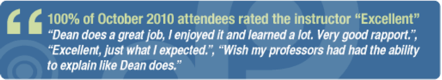 """100% of october 2010 attendees rated the instructor """"excellent"""""""